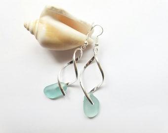 Beach Glass Green Sea Glass Earrings Sea Glass Jewelry Beach Glass Earrings Mermaid Jewelry Beach Wedding Jewelry Bridesmaid Silver Earrings