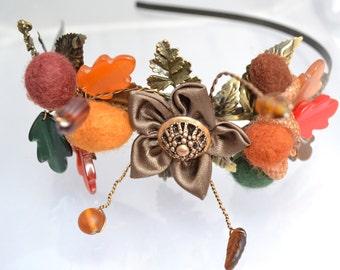 Autumn wedding bridal headpiece with felt acorns and vintage Lucite oak leaves,tiara,headband ,fascinator -autumn colours