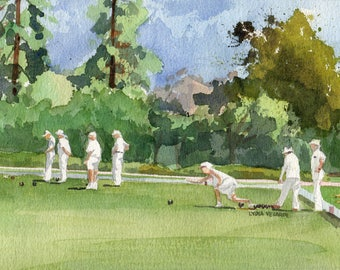 Lawn Bowls Original Watercolor Painting Signed (Lawn Bowling, Lawn Bowlers)
