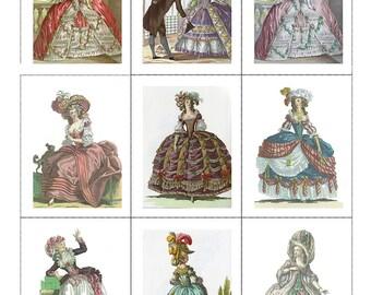 Fabric Panels x9 Marie Antoinette Set of 9  Craft/ Quilting/ 100% Cotton/  Applique
