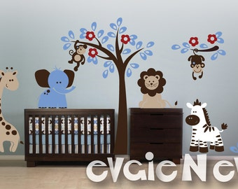 Baby Wall Decals -  Zebra, Lion, Giraffe, Elephant and Monkeys Wall Decals PLSF011