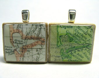 Grays Harbor, Washington - your choice of 1895 or 1878 Scrabble tile map pendant