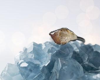 Oxidized Silver Citrine ring | Natural citrine ring | Raw citrine crystal jewelry | November Birthstone Ring | Raw Citrine Ring