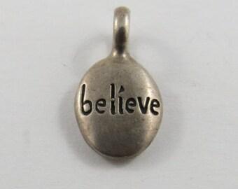 Tear Drop Shape Believe Sterling Silver Pendant or Charm.