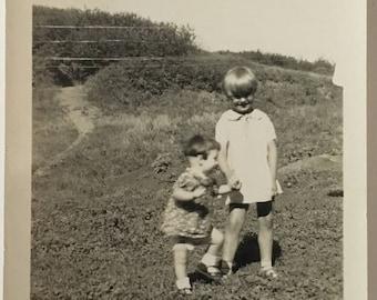 "Vintage Photo ""Happy Sisters"" Snapshot Antique Black & White Photograph Paper Found Ephemera Vernacular Interior Design Mood - 56"
