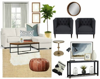 Interior Design Service-Customized & Affordable Virtual E-Design, E-Decor Service, Moodboard and Product Shopping Guide