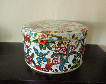vintage floral DECORATIVE TIN- white, gold, red, flowers