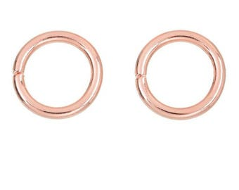 Round rings x 2 rose gold tone 15 mm