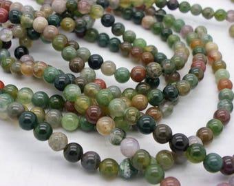 30 6 mm pink jaspe green white purple khaki beige multicolor agate beads