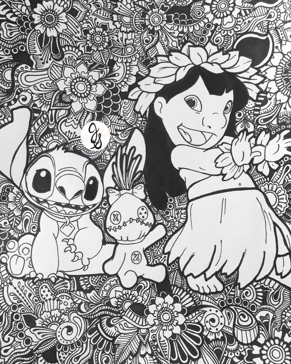 Coloring Pages For Adults: Lilo And Stitch Floral Design