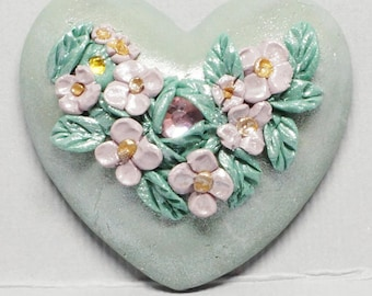 Green Heart Cabopchon with Light Purple Flowers and Green Leaves, Polymer Clay with Pink and Yellow Rhinestones