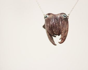 Cuttlefish Face Necklace - Adorably Curious - Made To Order