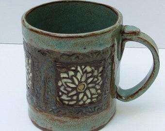 large ceramic mug; ceramics and pottery mug; flower mug; hand built pottery
