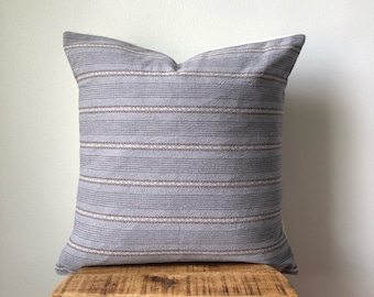 Blue and Grey Hamong Embroidered Tribal Pillow Cover - Hand made in the hills of the Hmong Tribe - Black with White Embroidery
