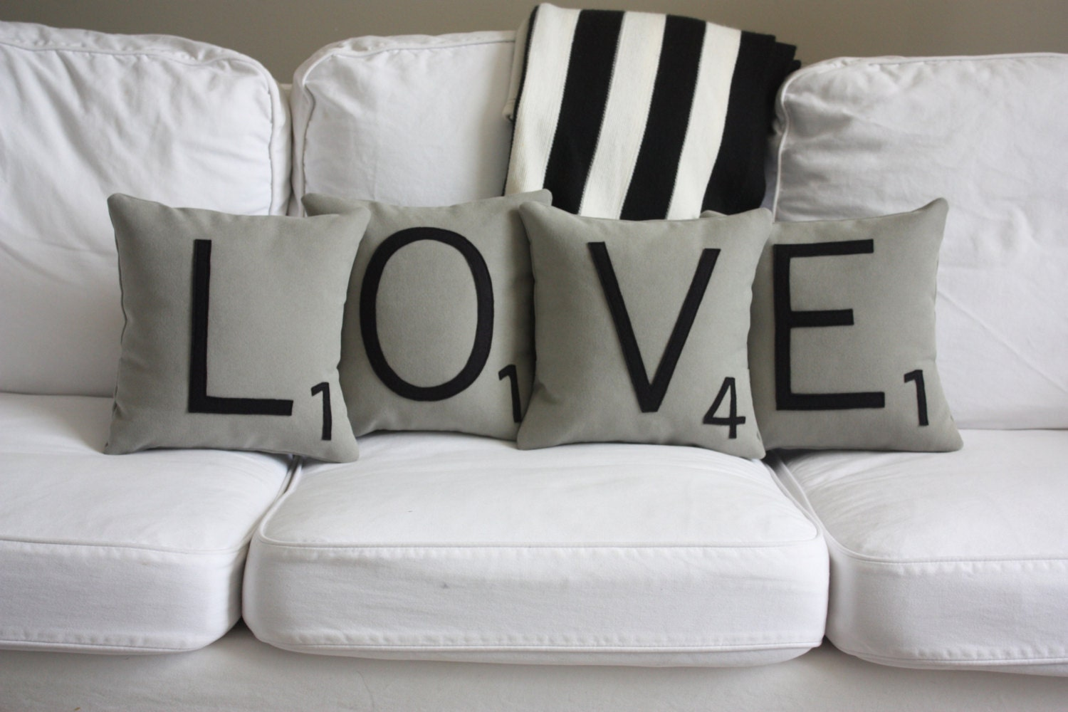 Love scrabble pillows inserts included scrabble tile zoom dailygadgetfo Image collections