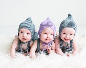 Baby Elf hat - Pixie knit hat - Baby Pixie bonnet - Knitted hat Pixie  - Elf knit hat