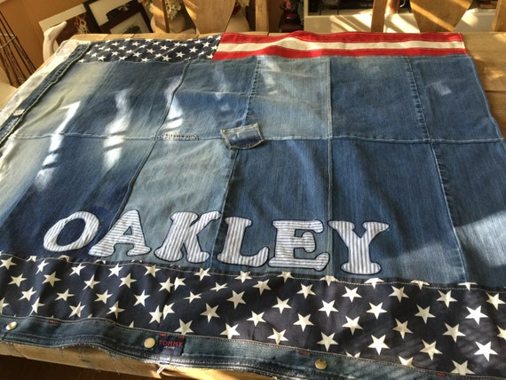 Denim Dog Bed, Personalized, Large, American Flag