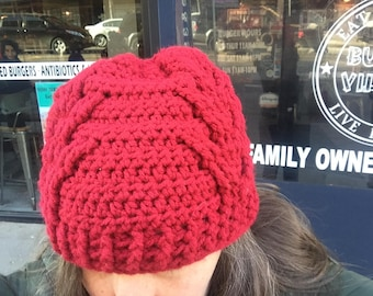 Red Rudolf Antlers Cable Crochet Hat