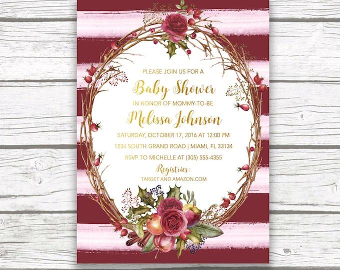 Baby shower casa confetti design studio burgundy baby shower invitation rustic baby shower invitation fall baby shower invitation marsala filmwisefo Gallery