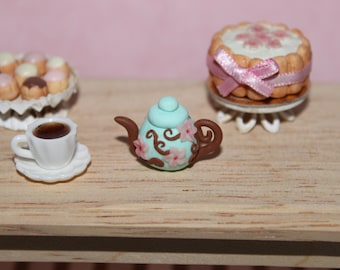 Miniature mint tea pot with cherry blossoms in 1 inch scale ( 1 : 12 scale ) -  Flowers in the air collection