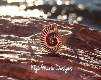 Nautilus shell Ring, skinny band stack ring, Sterling Silver Argentium Silver Stack Rings, Sea life nautical rings, beach ocean jewelry