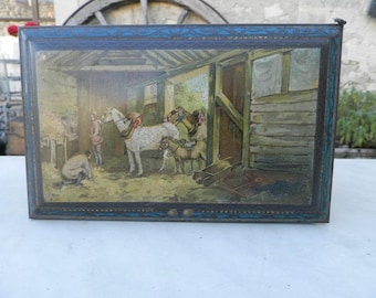 French vintage 1920's toffee tin depicting farm scenes