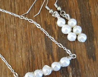 Pearl Shell Bar Necklace n Earring Set
