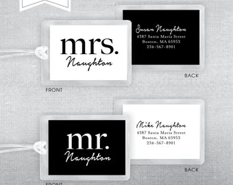 Mr. & Mrs. Luggage Tags. Set of 2 luggage tags. Shower gift. Wedding gift.