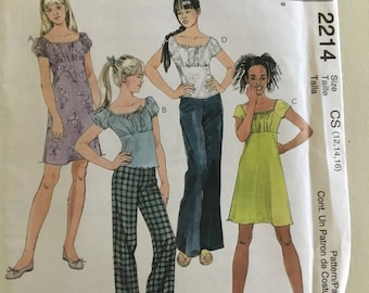 McCall's 2214 Girls Dress, Top, Pants Pattern, Size 12, 14, 16, Girl's Peasant Top, Girls Summer Dress Sewing Pattern