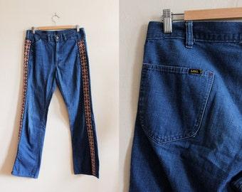 1960s Jeans / Vintage Lee Ribbon Trim High Waist Flare Jeans