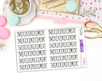 Multicolour Weekend Banner Doodles  FC-001 | 12 Planner Stickers