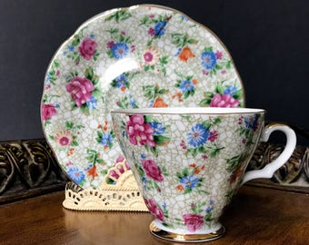 Lefton Tea Cup, Chintz on Footed Teacup and Saucer, Made in Japan -K