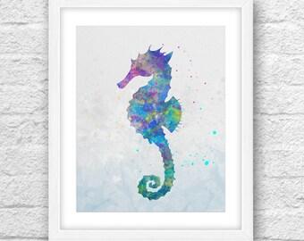 Seahorse Watercolor Art, Seahorse Art, Seahorse Wall Decor, Printable Seahorse, Seahorse Decor, Seahorse Watercolor, Seahorse 8x10