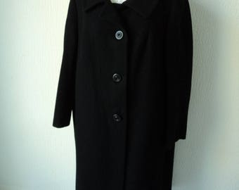 French vintage Weill Paris ladies stylish black wool fully lined long coat