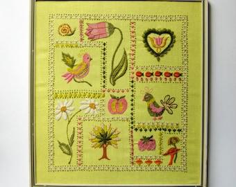 Birds and Flowers - Lemon Yellow Embroidery Art - Vintage Framed Fiber Art - Wool Crewel Stitch Art - Retro Mid Century Home Decor