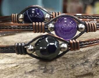 Copper gemstone bracelets bangles