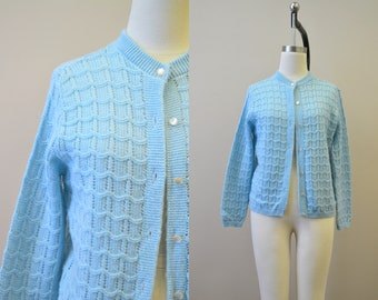 1970s Blue Cardigan Sweater
