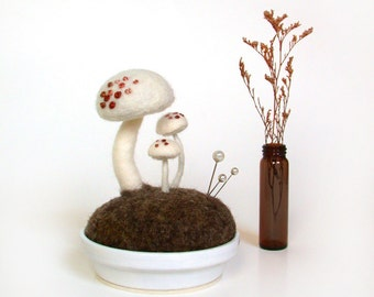 White Mushrooms - Pink Spots Nature Scene Pincushion Made To Order Home Decor