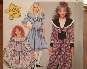 Vintage 1991 Simplicity Pattern #7587 Girl's sizes 12-14