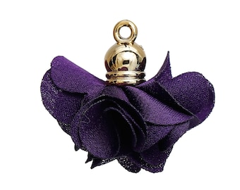 10 charms - 27x25mm - Polyester - purple gold tassels