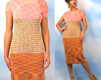 RESERVED for GretaGuise MISSONI Rainbow Sherbet Psychedelic Micro Knit Wiggle Dress (size large, xl)