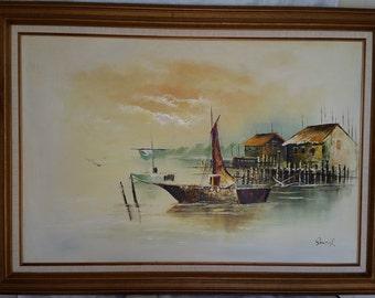 Beautiful Oil on Canvas Harbor Scene Painting by Sando R