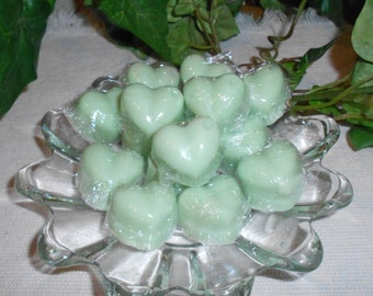 Fifteen, Mini Heart Wax Candle Tarts, Melts, .5 oz. each, You choose the color and Frangrance, Soy