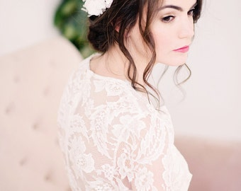 Chiffon flower headpiece, lace headpiece, flower hair comb, bridal - style 2010 - ready to ship-FREE SHIPPING*
