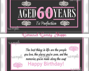 60th Birthday Party Favors Hershey's Candy Bar Wrappers Pink