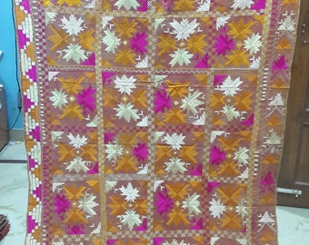 Exotic Indian Punjab & Pakistan Traditional Folk Hand Embroidery Phulkari Bagh Long Shawl