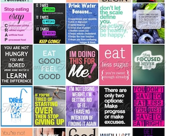 Fitness and Diet Motivation Stickers for Life Planners and Journals - Motivational Stickers - Printable Stickers - fits Erin Condren Planner
