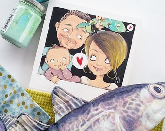 DILISA Personalized family illustration with three subjects