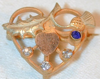 Victorian Heart & Thistle Watch Pin w/ Tri Gold and Rhinestones
