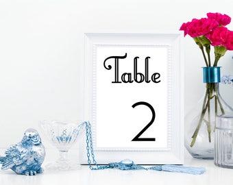 Wedding Table Numbers, Printable Table Numbers,  Wedding Printables, Printable PDF, Instant Download, DIY Wedding, Print at Home, PDF #s
